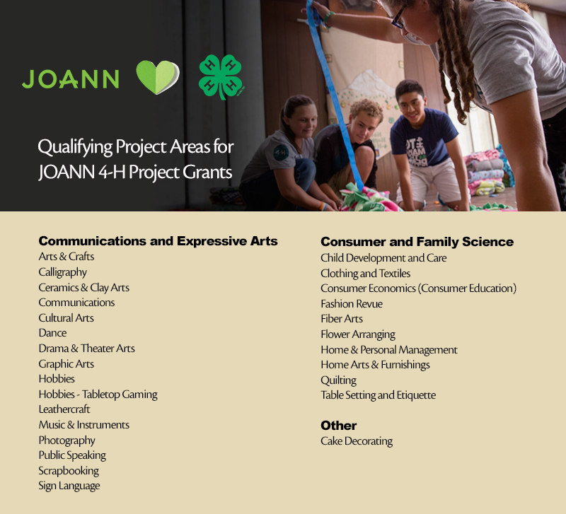 Qualifying Project Areas for JOANN Project Grants