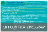 Gift Certificate Program